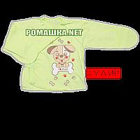 Распашонка для новорожденного р. 56 с царапками ткань КУЛИР 100% тонкий хлопок ТМ Алекс 3170 Зеленый1
