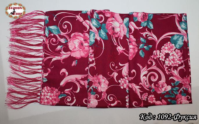 Шерстяной шарф Красные цветы, фото 2