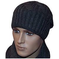 Вязаная мужская шапка - носок (утепленный вариант)  машинной вязки , спортивного силуэта