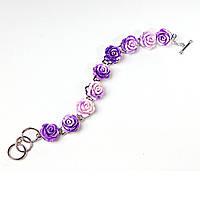 Браслет розы фиолетовые градиент полимерная глина застежка Тогл