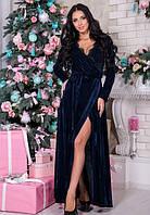Пурпурно-синее нарядное бархатное платье в пол