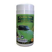 Салфетки Арника для авто (фары, стекло, зеркало) 100шт., влажные, в банке