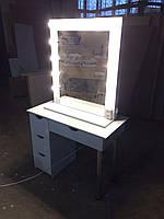 Столик гримерный белый, туалетный столик, стол для визажиста