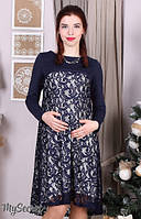 Нарядное платье для беременных и кормления Loren р. 44-50 ТМ Юла Мама синий DR-36.062