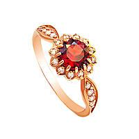 Золотое кольцо с гранатом и цирконами