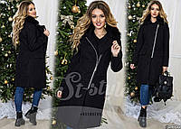 Шикарное кашемировое пальто на молнии с мехом