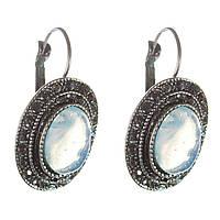 [25 мм] Серьги женские с лунным камнем в оправе под капельное серебро