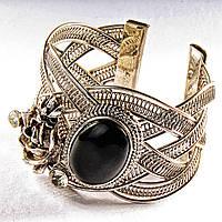 [6,5 см] Браслет черный Агат широкий скобка  металл Роза со стразами