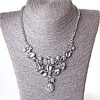 [70/60 мм] Ожерелье к вечернему  платью блеск страза Silver