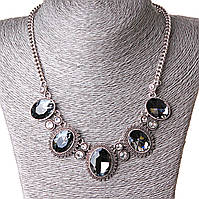 [20/30 мм] Ожерелье к вечернему  платью Чудеса блеск стекло страза Silver серый