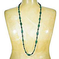 """Бусы """"чешское стекло"""" зелёные, чёрные бусины и прямоугольный малахит(пресс) 15мм, длина 120см"""