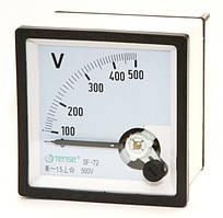 Вольтметр 0 - 500В панельный щитовой 72х72 мм стрелочный цена переменного ток шкаф фото
