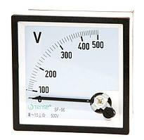 Вольтметр 0 - 500В панельный щитовой 96х96 мм стрелочный цена переменного тока шкаф фото