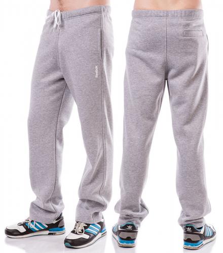 ТЕПЛЫЕ спортивные штаны мужские больших размеров на флисе Рибок (Reebok) светло серые баталы Украина