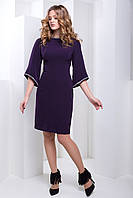 Изысканное Вечернее Платье с Интересным Рукавом и Стразами Сливовое S-М