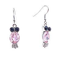 """Серьги-подвески """"Совы- Самоцветы"""" со черными стразами глаз и розовым кристаллом-тельцем  40*10мм"""