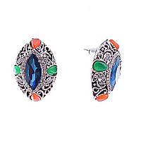 [2,6/1,9см] Серьги женские оптом, пусеты с синими овальными камнями в ажурной оправе с камнями и стр