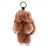 Брелок на сумку Кролик светло коричневый большой (18 см без крепления) нат. мех кольцо-карабин