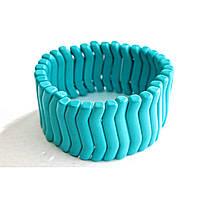 [10 см] Браслет на резинке голубая Бирюза волна мелкая