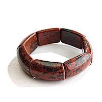 [10 см] Браслет на резинке Обсидиан прямоугольные камни