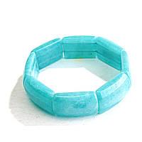 [10 см] Браслет на резинке Аквамарин прямоугольные камни