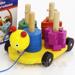 Геометрика ключики каталка - деревянная развивающая игрушка