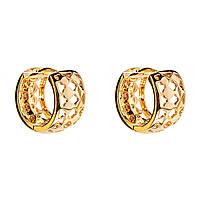 Xuping. Серьги круглые золотого цвета узорчатые широкие