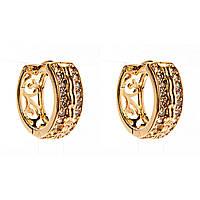 Xuping. Серьги круглые золотого цвета с  двумя рядами страз и нежным узором сзади
