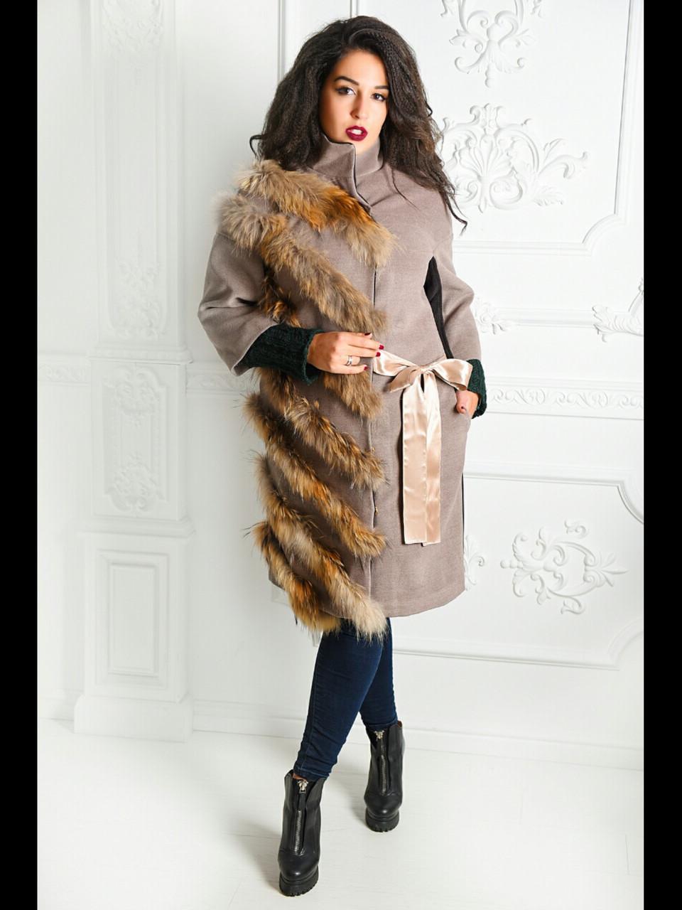 Зимнее кашемировое пальто с натуральным мехом енота  продажа d33b31948addc