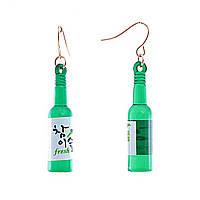 [4см] Серьги бутылочки зеленые с застежкой- петлей