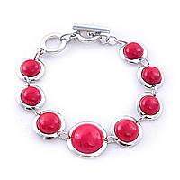 Браслет с красным кораллом(им) круглой формы,застёжка тогл, цвет металла серебро