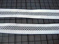 Трикотажная резинка с сеткой, белая, 20 мм
