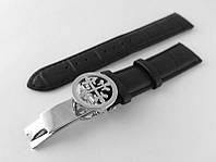 Ремешок к часам Patek philippe черный, кожаный, с фирменной серебристой застежкой.