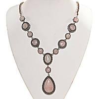 Колье с Розовым кварцем в металле под серебро, камни разной формы 10,12,18,30мм, длина 50см