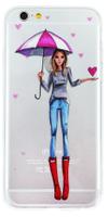 Чехол девушка зонтик+сердце для iPhone 7/8