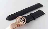 Ремешок к часам Patek philippe черный, кожаный, с фирменной застежкой, фото 1