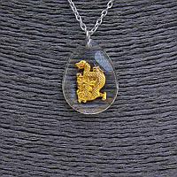 """Кулон на цепочке  """"Дракон"""" 25мм, китайский гороскоп, цвет цепочки серебро"""