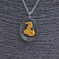 """Кулон на цепочке  """"Змея"""" 25мм, китайский гороскоп, цвет цепочки серебро"""