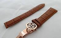 Ремешок к часам Patek philippe коричневый, кожаный, с фирменной застежкой