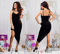 Черное вечернее трикотажное платье. Арт-9446/68
