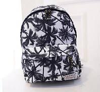 Белый городской рюкзак пальмы. Интересное оформление. Доступная цена. Отличное качество. Код: КГ57