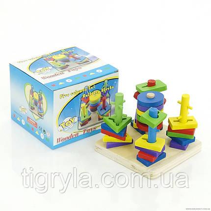 Пирамидка ключик - логическая игрушка геометрика, фото 2