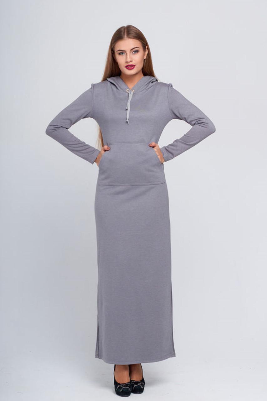 aaa8c916f4a Трикотажное длинное платье с капюшоном Агрия светло-серое - DS Moda -  женская одежда оптом