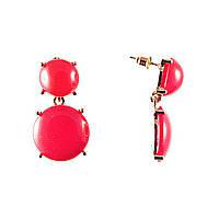 Серьги-гвоздики с подвеской, золотистый металл, красный пластик 35×15mm