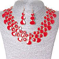 [15х35 серьги мм.] Набор ожерелье + серьги Лава-Лампа, металл Gold и красный глянец