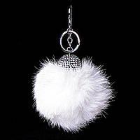 [25мм] Брелок на сумку, рюкзак Бумбон натуральный мех кролика страза с двумя типами крепления белый