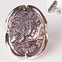 Кольцо безразмерное камея лоза темный Перламутр
