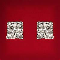 [13x13 мм] Серьги женские белые стразы светлый металл свадебные вечерние гвоздики (пуссеты) квадрат средние