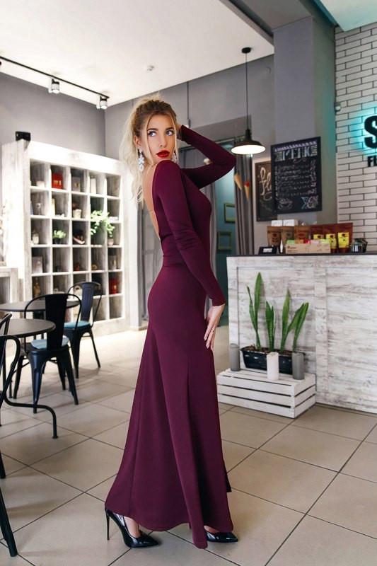 Шикарное длинное женское платье макси с открытой спиной и разрезом по ноге  цвет марсала - Стильная d6a0e5bc1bed5