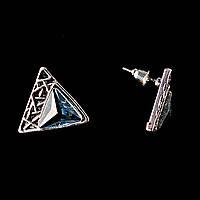 """Серьги - пусеты """"Пирамидки"""", с голубыми стразами\ под """"серебро"""" \ 20мм"""
